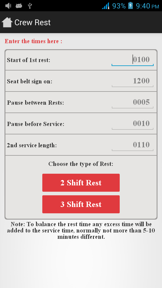 Cabin Leaders android crew rest screen
