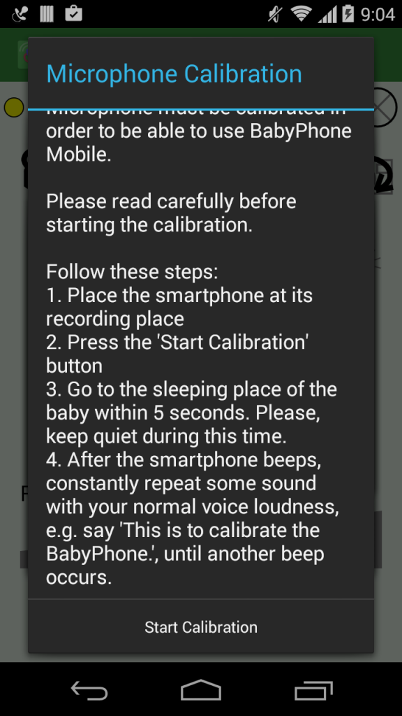 Microphone Calibration Screen for Baby Phone Android app